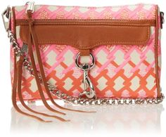 Women's Cross-Body Handbags - Rebecca Minkoff Mini MAC Convertible Canvas Crossbody BagPinkOrange PrintOne Size *** More info could be found at the image url.