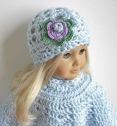 American Girl Doll Clothes: Crocheted Poncho Set with Flowered Hat in Color of your Choice. $12.50, via Etsy.