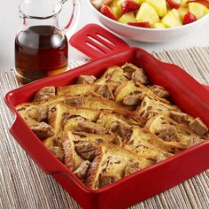 Easy Cinnamon French Toast Casserole: Cinnamon French toast casserole recipe with cinnamon raisin bread and maple sausage patties baked in a custard made with Egg Beaters