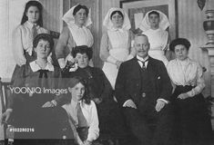 """""""Grand Duchess Maria Georgievna and her daughters Princesses Nina and Xenia photographed with Harrogate hospital staff during WW1 """""""