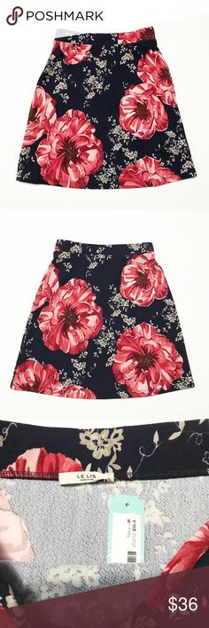Let Lisa Stitch Fix Floral Pencil Skirt Medium New with tags- super cute knit skirt. 95% polyester, 5% spandex. Skirt is navy blue with a red & tan flower & leaf print. Le Lis Skirts