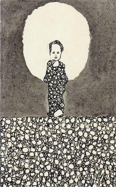 """Kind mit Nimbus auf einer Blumenwiese, 1909  by Egon Schiele  oh, and did you know that """"schiele"""" in German means """"squint""""?"""