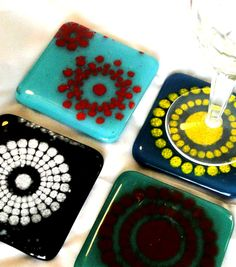 Colorful Fused Glass Coaster Set of Four on Etsy, $35.00