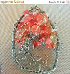 Japanese Maple Wire Art Tree of Life Suncatcher / Pink Orange Wire Wrap Home Decor / Glass Cherry Quartz Beads & Glass Pearls
