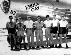 The crew of Enola Gay, the aircraft that dropped the first atomic bomb over Hiroshima, Japan 1945
