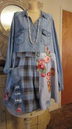 Denim Art to Wear Tunic Top, Upcycled Shirt, Live, Love, Laugh, Reworked Shirt, Unique, Boho Top, Plus Size.#ad #upcycle #refashion