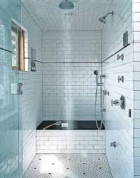 Bathroom, : Epic Picture Of Black And White Bathroom Decoration Design Ideas Using White Subway Tile Bathroom Wall Including Mount Wall Curve Stainless Steel Shower Head And White Octagon Tile Bathroom Flooring White Subway Tile Bathroom, Subway Tile Showers, Narrow Bathroom, Master Bathroom, Subway Tiles, Master Shower, Hex Tile, Bathroom Black, White Tiles