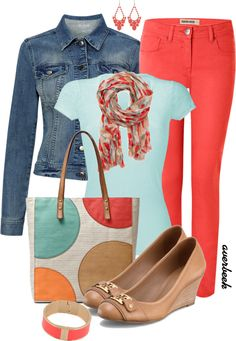 """""""Coral Jeans"""" by averbeek on Polyvore"""