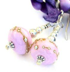 ShadowDog.Pink Lampwork Earrings 1,29,18