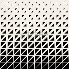 Vector Seamless Black And White Triangle Grid Halftone Pattern..