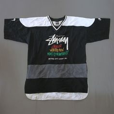 Vintage 90s STUSSY Jersey for sale $150 Free Shipping! PayPal Only storevtg90s@gmail.com to purchase. #stussywomen #stüssy #stussysecond #stussyhk #stussyjapan #stussy #vintage #hockeyjersey #chillinwiththenewbeatgeneration #stussytribe #black #streetwear #stussynyc #hiphophead #hiphopfashion #hiphopdance #xl