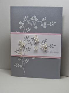 I started with a Smoky Slate card base and stamped the blossoms in Versamark then heat embossed with white embossing powder.  I added a panel of Pink Pirouette and Whisper White.  The blossom was stamped again in Smoky Slate.  I stamped the sentiment from Teeny Tiny Wishes then added some flowers punched out using Itty Bitty Punches and Basic Pearls.