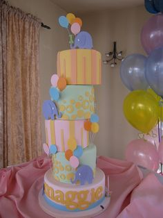 Peach, Pink and Aqua Funky Stacked Cake with Circles & Stripes and Elephants with Balloons (Maggie)