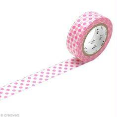 Masking Tape - Pois Rose - 15 mm x 10 m