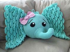 So cute crochet elephant pattern and allELEPHANT CROCHET PILLOW...this is the cutest Pillow I have ever seen! SO pretty!!  Find the Pattern here (aff)... http://rstyle.me/n/bsh5nrb5zc7 .