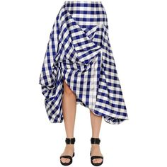 Patricia Padrón Women Asymmetric Draped Raw Silk Gingham Skirt ($950) ❤ liked on Polyvore featuring skirts, gingham skirt, panel skirt, button skirt, silk skirt and draped asymmetrical skirt