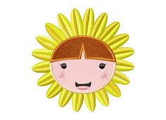 Cute Sun Flower Head Includes Both Applique and Stitched-dailyembroidery.com
