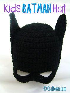Free Crochet Pattern - Kids Batman Hat ~ some future Jackson grandsons will need this!