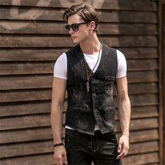 >> Click to Buy << Mens Sleeveless Denim Jacket With Removable Hood Denim Vest Colete Masculino Men Chaleco Hombre Hooded Jean Vest A1649 #Affiliate