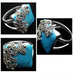 925 sterling silver ring Blue turuqoise size 7 Jewelry Rings