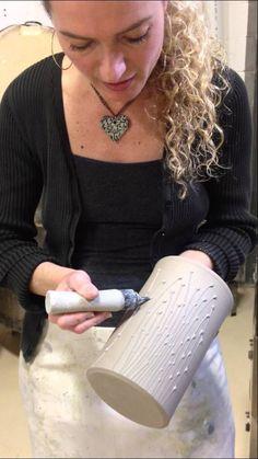 Dotti Potts Pottery- Sandra Silberman sliptrailing a utensil holder.