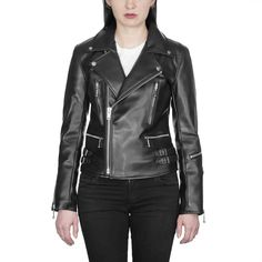 Shop Lady's Vegan Defector - Black Artificial Leather Jacket - Nickel Hardware from Straight To Hell Apparel. Live loud.