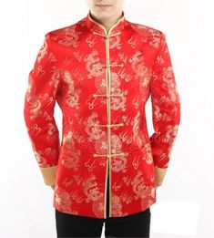 84077d19967 Red dragon brocade men's jacket - Custom-made Cheongsam,Chinese clothes,  Qipao, Chinese Dresses, chinese clothing,EFU Tailor Shop