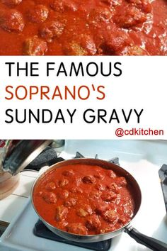 Soprano's Sunday Gravy - Go old school Italian with this slow-simmered recipe for real Sunday gravy (that's pasta sauce to non-Italians). Tony Soprano would be proud. | CDKitchen.com