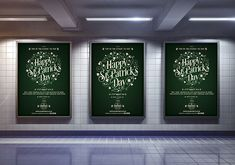 St Patrick's Day 2018 Poster: Various sizes of poster designs for advertising St Patrick's Day 2018. #graphicdesign #design #posters #billboards #largeposter #frameposters #advertising #streetadvertising #StPatricksDay #Ireland #HappyStPatricksDay #busstops #undergroundposters #subwayposters