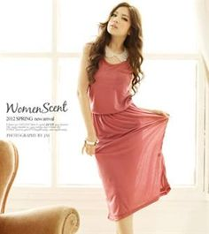 Korea Version Comfortable Pocket Pink Dress