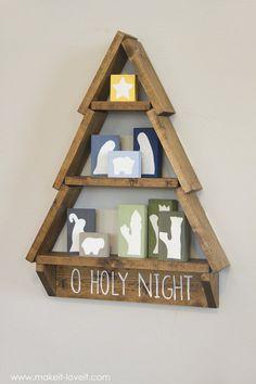 DIY Holiday Tree Shelf…with Nativity Blocks! #woodcraft