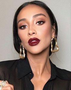 """"""""""" Bold lip makeup look """""""" Statement Deep red lipstick makeup look ❤️ """""""" Vampy Lipstick, Red Lipstick Makeup Looks, Deep Red Lipsticks, Bold Lip Makeup, Red Makeup, Makeup For Brown Eyes, Makeup Tips, Brown Lipstick Makeup, Makeup Ideas"""