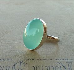 Aqua Chalcedony ring Oval Aqua Chalcedony Gemstone ring by anakim, $98.00