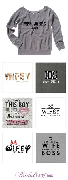 Mrs. and Wifey Shirts