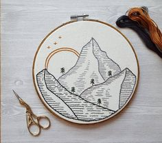 Mountain Scene : Hand Embroidery Wall Art Home Decor