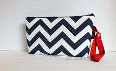 Zippered Diaper Clutch  Stroller Bag  In Navy Chevron by BagEnvy, $20.00