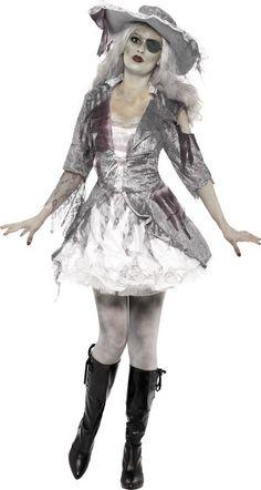Piratin Malina Kostüm Piraten Schwarz Damen Skelett Halloween Karneval /%SALE/%