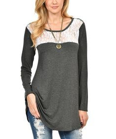 Loving this Heather Charcoal & White Lace-Accent Long-Sleeve Tunic on #zulily! #zulilyfinds