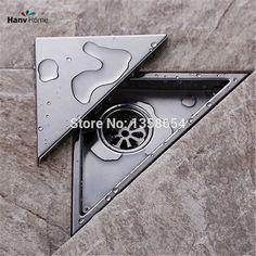 Hidden Type Triangle Tile Insert Floor Waste Grates Bathroom Shower Drain ,304 Stainless Steel Floor Drain
