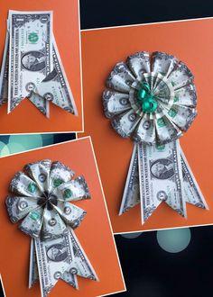 Diy Money Rosette - Home Page Money Lei, Money Rose, Money Origami, Origami Cat, Origami Folding, Cute Gifts, Diy Gifts, Money Creation, Creative Money Gifts