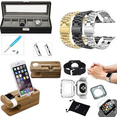 DigitalsOnDemand ® 11-Item Accessory Bundle Kit for Apple Watch 42mm - DigitalsOnDemand Mesh Bag, Crystal Clear Hard Full Cover Case, Sports Band, Black TPU, Clear TPU, Stainless Steel / Black / Gold Bands, Adapter Kit, Phone and Watch Stand, Watch Jewelry Box (Will not fit Apple Watch 38mm) DigitalsOnDemand  - http://amzn.to/1KBrbYN