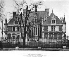 The rear of Charles M. Schwab mansion Riverside House as it appeared from West End Avenue, a full block from the front entrance.