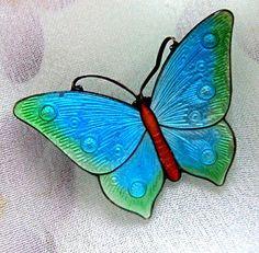 Vintage Signed Sterling Blue Enamel Butterfly Pin