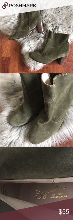 """Seychelles Peridot Suede booties olive green These have just been sitting in my closet waiting to be worn. Still have the price tag from the Rack on the bottom. Suede upper. Appx 3"""" stacked heel. Ridiculously pretty green color. Size 8.5. Fits tts, in my opinion. No box. Seychelles Shoes Ankle Boots & Booties"""
