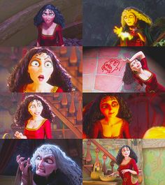 "This picture is stills from the movie Tangled, in a song titled ""Mother Knows Best."" Gertrude obviously has her own agenda. However, she tries to put up the front that everything she is doing is for Hamlet's own good. This is a very accurate picture because in Tangled, Mother Gothel tries to hide Rapunzel away from the world because she tells Rapunzel that it is a scary place. In actuality, she is trying to keep Rapunzel for herself forever."