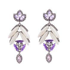 Chunky Purple Crystal Earrings $10