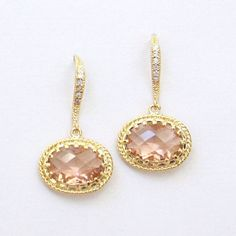 Elle. Romantic Peach Rose Faceted Oval Glass Earrings with Cubic Zirconia by lepetitruban, $38.00