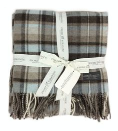 Fiori Di Firenze 100% Wool Tartan Plaid Oversized Throw Blanket Taupe Beige Blue in Home & Garden, Bedding, Blankets & Throws | eBay