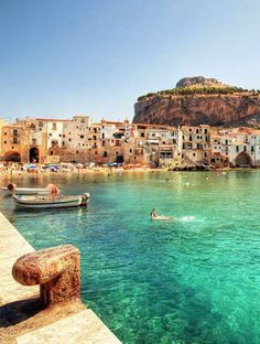 Cefalu, Sicily, Italy // europe // dock // harbor // fishing village // old country // mountain // paradise // exotic travel destinations // dream vacations // places to go Places Around The World, Travel Around The World, Around The Worlds, Places To Travel, Places To See, Travel Destinations, Dream Vacations, Vacation Spots, Italy Vacation