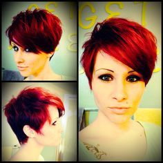 Red pixie cut! Maybe not red for me but love the cut!